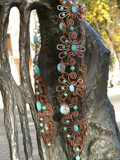 Handmade Wire wrapped Belt  Turquoise Blue Brown by ChervlenyYar, $485.00