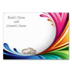 Place Card - Elegant Swirling Rainbow Splash 2 - Blank for handwritten guest names - Rainbow Splash & Wedding Rings Matching Wedding Set #lgbtq #gaymarriage #gaywedding