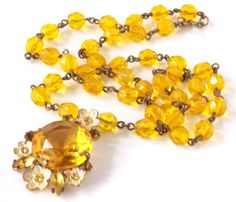 Vintage Amber Czech Faceted Glass Beaded by TheButterflyBoxdeitz, $125.00