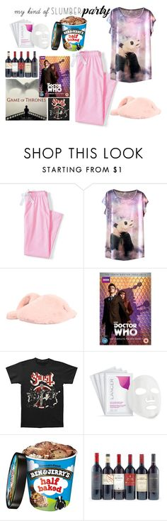 """""""my kind of slumber party"""" by helene-saeth-fiska ❤ liked on Polyvore featuring Lands' End, UGG Australia, Lancer Dermatology and slumberparty"""