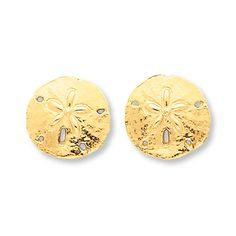 SAND DOLLAR EARRINGS 14K YELLOW GOLD. These earrings are a shining reminder of ocean breezes and sand between your toes. The earrings are secured with friction backs.