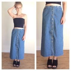 90s Jean Maxi Skirt, Button Down Skirt, Skirt With pockets, Denim Maxi Skirt, Ankle Length Jean Skirt, Long skirt, High Rise Skirt XS Small by MileZeroVintage on Etsy