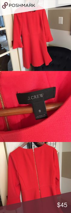 JCrew coral dress with bell sleeves. Coral, knee-length dress with 3/4-length bell sleeves. Worn once. Great for work or spring events. J. Crew Dresses