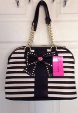 NWT Betsey Johnson Dome Satchel Bag Hopeless Romantic Large Black Stud Bow