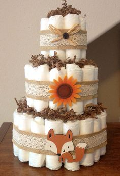 3 tier diaper cake Woodland themed diaper cake by StorkandCo