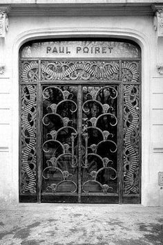 Poiret commissioned Edgar Brandt, the premier Art Deco ironworker, to design the grillwork doors and interior staircase for his atelier at 1 Champs-Elysées Round Point, 1925.