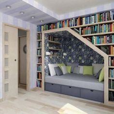 Reading nook... Maybe have this around a window so that there is more light. I love the idea but not the darkness. Maybe a lighter blue night sky with ideas for books. Ideas below: http://pinterest.com/pin/90072061267561146/ http://pinterest.com/pin/90072061267561147/ http://pinterest.com/pin/90072061267561148/