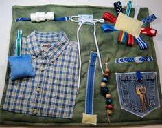 Masculine style Blue Plaid Shirt on Green Fidget, Sensory, Activity Quilt Blanket by TotallySewn on Etsy
