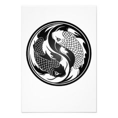 White and Black Yin Yang Koi Fish Personalized Announcement