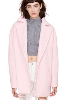 Pink Lapel Collar Worsted Coat