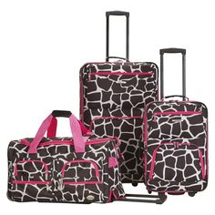 Rockland Spectra 3pc .Expandable Rolling Luggage Set - Pink Giraffe, Brown/Pink