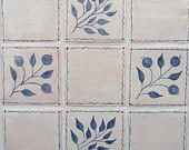 Handmade and Handpainted Ceramic Tile - Arts and Crafts Sprigs Pattern -- Made to Order
