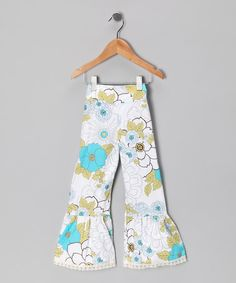 Take a look at this Aqua Floral Ruffle Pants - Toddler & Girls by Ruby and Rosie on #zulily today!