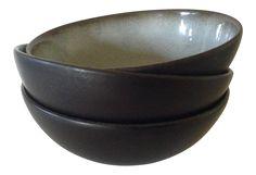 French Stoneware Bowls - Set of 3 on Chairish.com