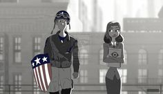 "castlefreak005: ""Please comment and favorite this on DeviantArt :) made this earlier today Disney's Paperman - Captain America and Peggy by castlefreak005 """