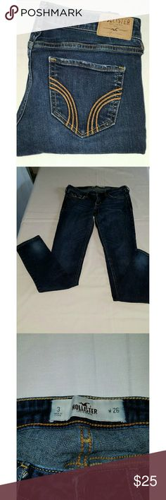 """HOLLISTER DARK WASH SKINNY JEANS HOLLISTER DARK WASH SKINNY JEANS  Rise is 7"""" and the inseam is 29.5"""". All measurements are approximate and taken flat.  Size is stated as 26 and size 3. Hollister Jeans Skinny"""