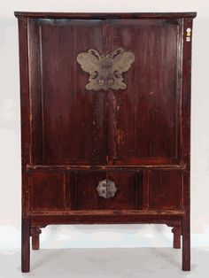 Antique Asian Furniture: Antique Chinese 4-Door Cabinet with Butterfly Plate from Southern China