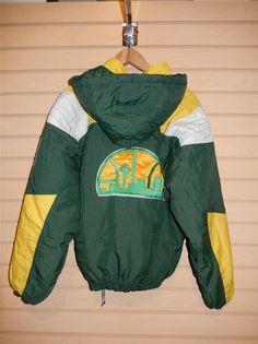 VTG Seattle Super Sonics Starter Pullover Jacket 1990's Small Green White Yellow #Starter #SeattleSupersonics
