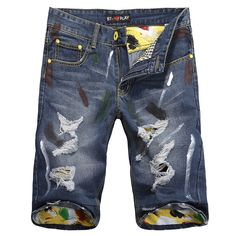Fashion Brand Denim Shorts Mens Jeans Brand Designer 2014 Summer Shorts Men Free Shipping $18.00