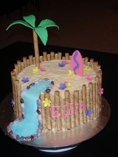 When I do this, I'm gonna put a hula girl between the tree and surf board!!! Luau Cake