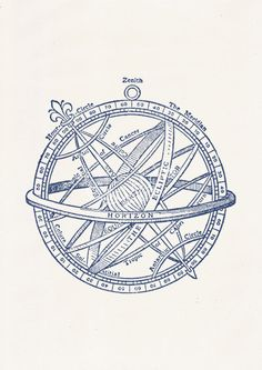 Nautical print poster Vintage compass n03 in by seasideprints