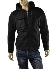 GUESS Jacket Mens Adam Hooded Military Short Wool Utility Coat Size L NEW #GUESS #BasicJacket