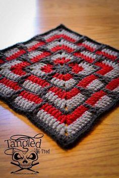 Point Granny Au Crochet, Crochet Squares Afghan, Crochet Motifs, Crochet Blocks, Granny Square Crochet Pattern, Afghan Crochet Patterns, Crochet Stitches, Free Crochet, Knit Crochet