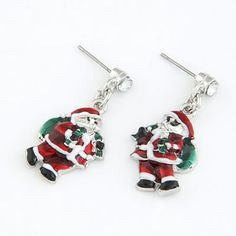 Pagan Silver Color Colorful Father Christmas Shape Alloy Stud Earrings, in stock  US$0.45