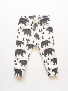 Organic baby leggings in geometric bear print by LolaandStella