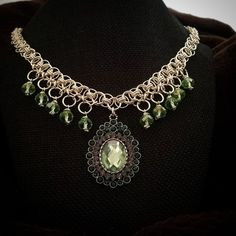 N03-3 Chainmaille Designer Necklace Peridot