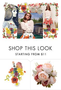 """Lana Del Rey"" by farrahdyna ❤ liked on Polyvore featuring Clare Celeste, Jimmy Choo, Graduation, floral, lanadelrey and singer"