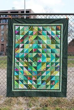quilt, Kaffe Fassett fabrics and green solids, front by constance