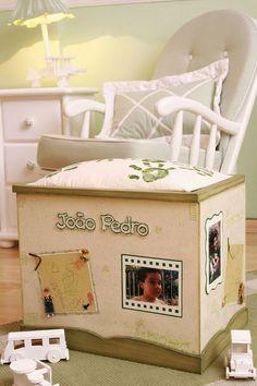Baú para brinquedos com découpage e decoração artesanal / DIY, Craft, Upcycle