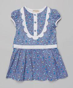 Blue Apple Puff-Sleeve Dress - Toddler & Girls