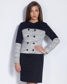 Дамско сако в синьо и бяло - Carlos #онлайн #пазаруване #дрехи #сако #букле #синьо #бяло