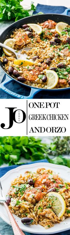 One Pot Greek Chicken Orzo is a fabulous midweek meal. It's quick, delicious and loaded with Greek flavors. Less stress, more flavor! Chicken Orzo, Greek Chicken, Midweek Meals, Easy Meals, One Pot Dinners, Cooking Recipes, Healthy Recipes, Healthy Salads, Healthy Dinners