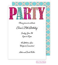 Cute, casual party invitation. Maureen Hall Stationery & Invitations