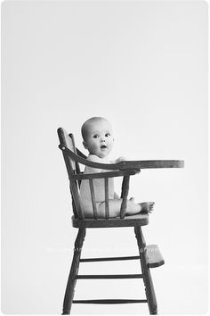 Super-cute baby portrait with vintage wooden highchair.  Photography by Mika Beth Edwards