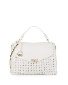 Versace Woven Leather Slouchy Tote Bag, White  ON SALE: Was $3040.00 Reduced to: $1824.00  40% OFF