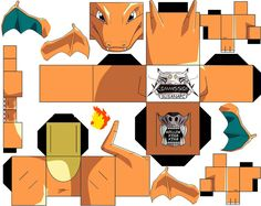 Charizard by hollowkingking.de… on Charizard by hollowkingking. Papercraft Pokemon, Pokemon Craft, Paper Toys, Paper Crafts, Art For Kids, Crafts For Kids, Pumpkin Coloring Pages, Papercraft Download, Pokemon Charizard