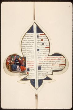Amazing manuscript in the shape of the fleur-de-lis. It is a Book of Hours for the use of Rome, made circa 1555. (Amiens, Bibliothèque municipale, fonds L'Escalopier 022)  Not your everyday medieval book. I have never seen one like this before. Wonderful display of craftsmanship.
