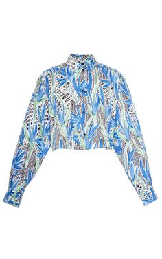 Printed cropped cotton-poplin top by Kenzo
