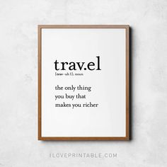 Travel definition Definition prints Travel poster Gift for