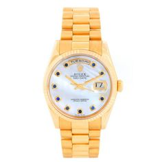 Rolex President Day-Date Dark MOP Diamond Dial 118238 Rolex Watches For Men, Presidents Day, Gold Watch, 18k Gold, Dating, Jewels, Crystals, Diamond, Sapphire
