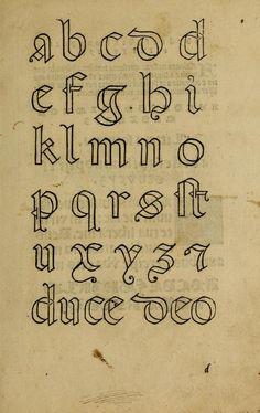 """Ancient outline alphabet from """"La operina di Ludouico Vicentino, da imparare di scriuere littera cancellarescha (1524)."""""""