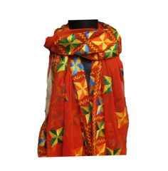 Phulkari scarf/phulkari dupatta/ chiffon dupatta/ scarf/  large scarf/ orange scarf/ gift scarf / gift ideas. by vibrantscarves on Etsy