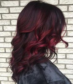 Red Balayage & Hair Highlights : 40 Cool Ideas of Lavender Ombre Hair and Purple Ombre The Right Hairstyles for You Brown Curly Hair, Brown Hair Dyed Red, Short Hair, Red Brown Hair Color, Hair Color And Cut, Black Cherry Hair Color, Hair Lengths, New Hair, Hair Inspiration