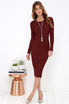 Comfy, cozy, and endlessly chic; these are a few of the reasons to love the Simply Smitten Burgundy Sweater Dress