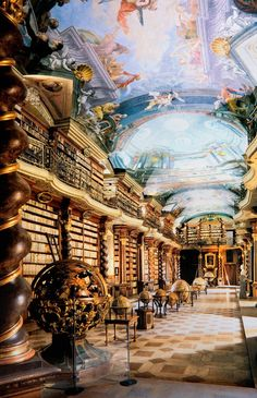 Clementinum National Library in Prague, Czech Republic World Library, City Library, College Library, Dream Library, Grand Library, Library Art, Library Ideas, World's Most Beautiful, Ancient Architecture