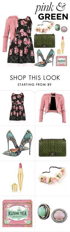 """pink & GREEN"" by fashionkat20 ❤ liked on Polyvore featuring Samya, FRACOMINA, Christian Louboutin, Chanel, Kusmi Tea and Alexandra Mor"